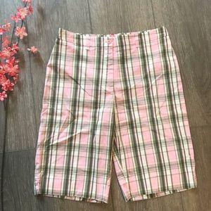 Anne Klein Sport Shorts Bermuda plaid pink size 8